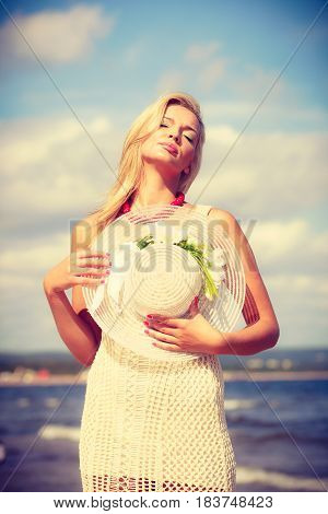 Beautiful Woman Wearing White Dress, Sky Background