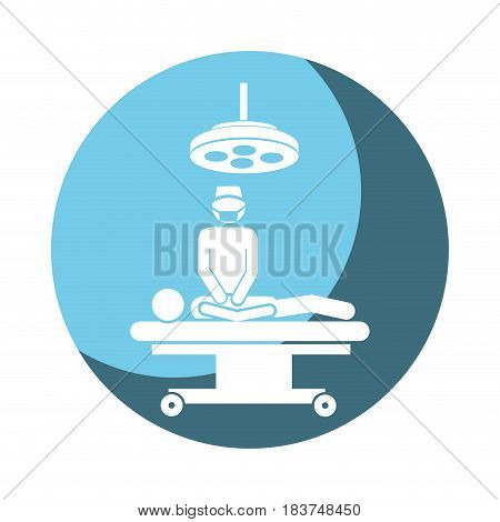 color circular frame shading with pictogram patient in surgery icon flat vector illustration