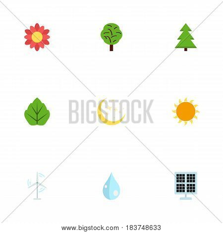 Flat Water, Tree, Foliage And Other Vector Elements. Set Of Environment Flat Symbols Also Includes Power, Wind, Solar Objects.