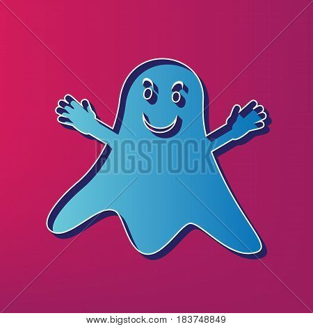 Ghost isolated sign. Vector. Blue 3d printed icon on magenta background.