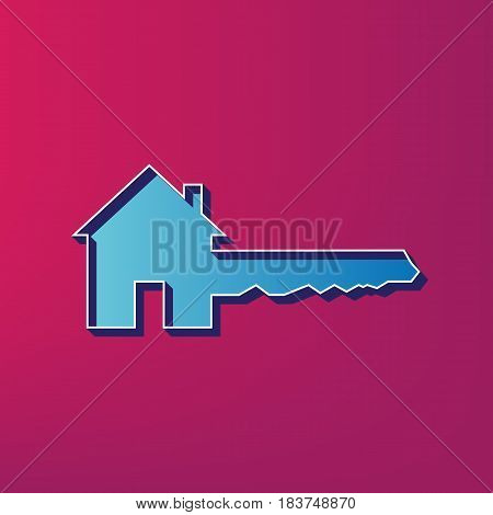 Home Key sign. Vector. Blue 3d printed icon on magenta background.