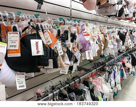 New York March 15 2017: A large selection of bras for sale are hanging in a TJ Maxx store in Manhattan.