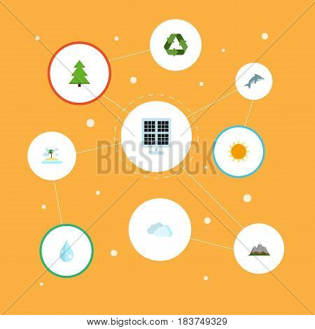 Flat Sunshine, Isle Beach, Sun Power And Other Vector Elements. Set Of Eco Flat Symbols Also Includes Sunny, Spruce, Solar Objects.