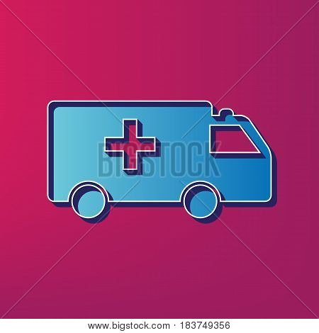 Ambulance sign illustration. Vector. Blue 3d printed icon on magenta background.