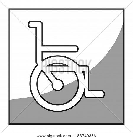 grayscale square frame shading with wheelchair icon vector illustration