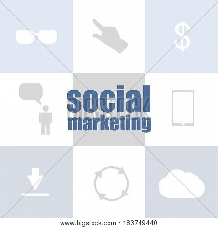 Text Social Marketing. Management Concept . Infographic Template For Presentations Or Information Ba