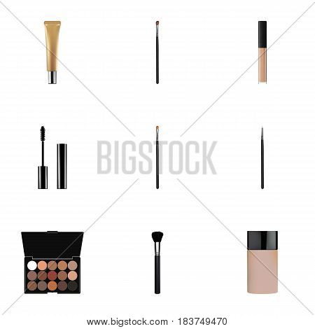 Realistic Cosmetic Stick, Eyelashes Ink, Collagen Tube And Other Vector Elements. Set Of Cosmetics Realistic Symbols Also Includes Multicolored, Concealer, Collagen Objects.