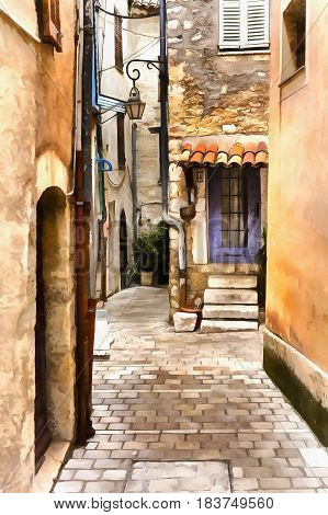 Old town street cityscape colorful painting, Vence, France
