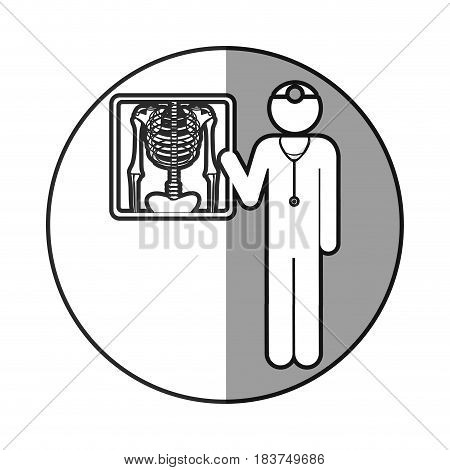grayscale circular frame shading with pictogram doctor and radiography vector illustration
