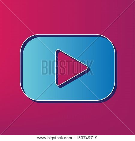 Play button sign. Vector. Blue 3d printed icon on magenta background.