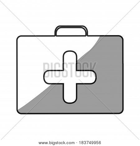 grayscale silhouette with symbol of first aid kit with cross vector illustration