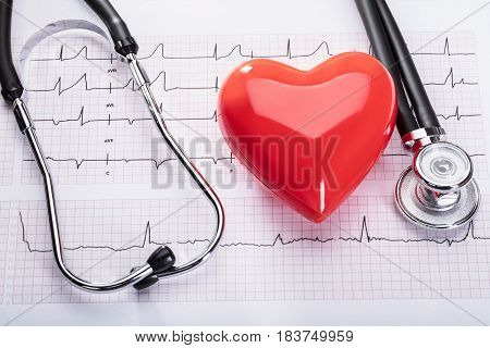 Elevated View Of Cardiogram With Red Heart And Stethoscope
