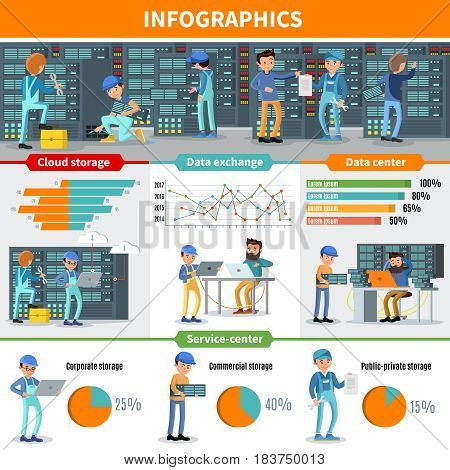 Datacenter engineers infographic concept with repair and diagnostic services of cloud storage hosting and database vector illustration