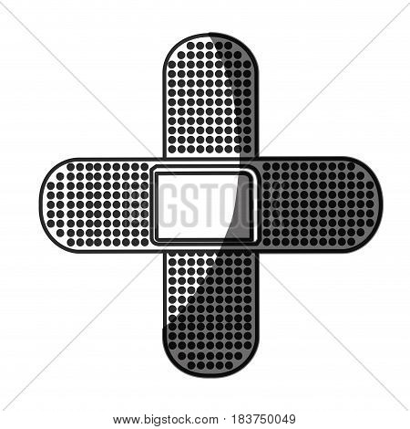 grayscale silhouette with symbol of band aid in shape of cross vector illustration