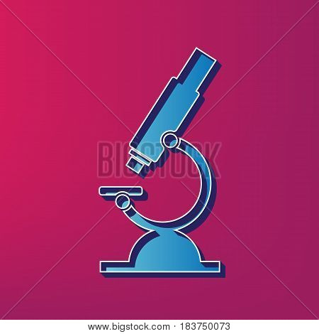 Chemistry microscope sign for laboratory. Vector. Blue 3d printed icon on magenta background.