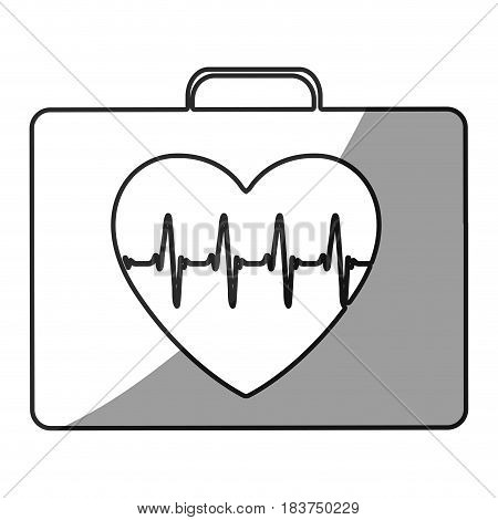 grayscale silhouette with first aid kit for heart health vector illustration