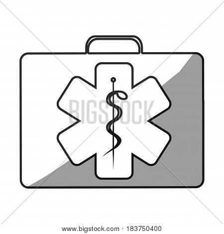 grayscale silhouette with first aid kit with star of life logo vector illustration