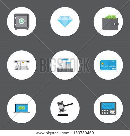 Flat Billfold, Payment, Strongbox And Other Vector Elements. Set Of Banking Flat Symbols Also Includes Jewel, Register, Safe Objects.
