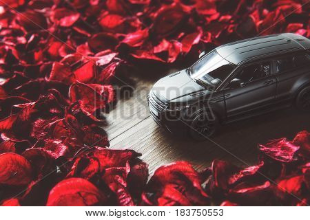CHONBURI,THAILAND - 27 April,2017 : Sport SUV black oxide car toy and red petal wallpaper background, selective focus