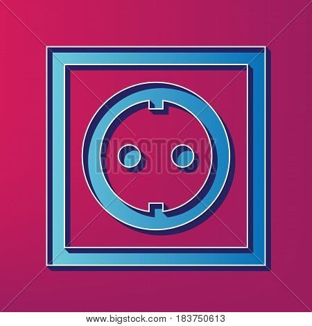 Electrical socket sign. Vector. Blue 3d printed icon on magenta background.