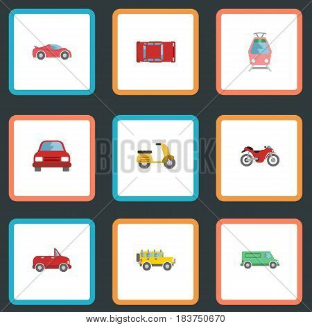 Flat Carriage, Streetcar, Transport And Other Vector Elements. Set Of Vehicle Flat Symbols Also Includes Tramcar, Automobile, Auto Objects.
