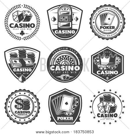 Vintage monochrome casino labels set with inscriptions gambling and poker club elements isolated vector illustration