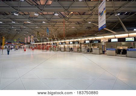 COLOGNE, GERMANY - CIRCA SEPTEMBER, 2014: check-in counter at Cologne Bonn Airport.
