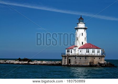 Lighthouse and the clear sky in Chicago