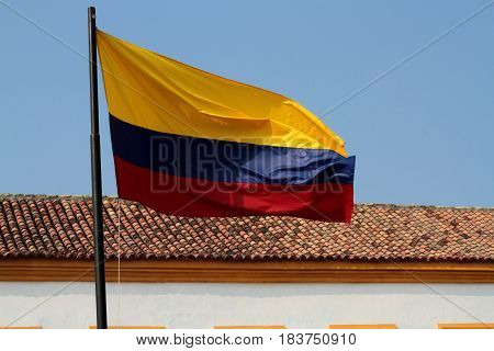 National flag of Colombia in Cartagena de Indias