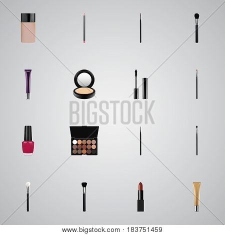 Realistic Beauty Accessory, Concealer, Fashion Equipment And Other Vector Elements. Set Of Maquillage Realistic Symbols Also Includes Tassel, Palette, Contour Objects.