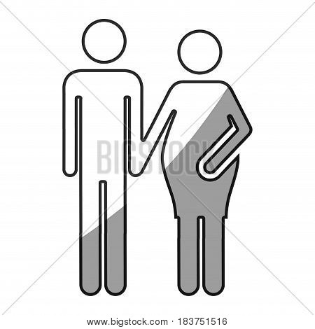grayscale silhouette with pictogram woman pregnant and man vector illustration