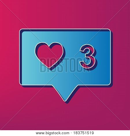 Like and comment sign. Vector. Blue 3d printed icon on magenta background.