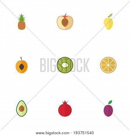 Flat Peach, Ananas, Alligator Pear And Other Vector Elements. Set Of Dessert Flat Symbols Also Includes Ananas, Apricot, Fruit Objects.