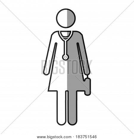 grayscale silhouette with pictogram female doctor with stethoscope vector illustration
