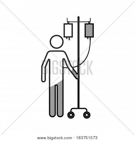 grayscale silhouette with pictogram person hospitalized icon flat vector illustration