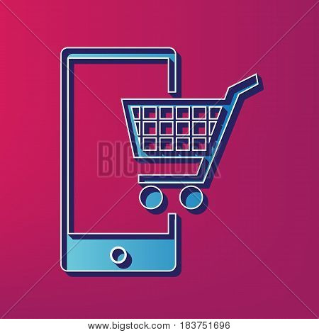 Shopping on smart phone sign. Vector. Blue 3d printed icon on magenta background.
