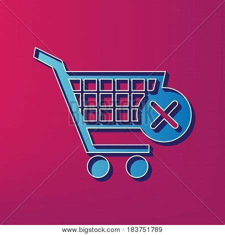 Shopping Cart with delete sign. Vector. Blue 3d printed icon on magenta background.