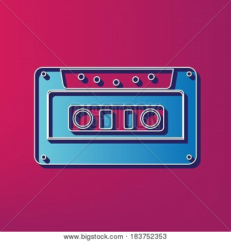 Cassette icon, audio tape sign. Vector. Blue 3d printed icon on magenta background.