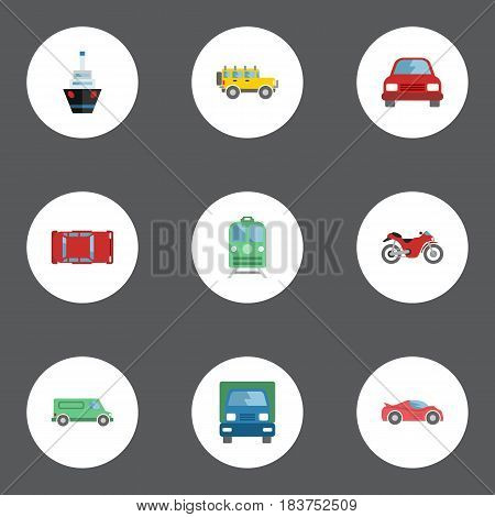 Flat Carriage, Luxury Auto, Jeep And Other Vector Elements. Set Of Machine Flat Symbols Also Includes Suv, Vessel, Automobile Objects.