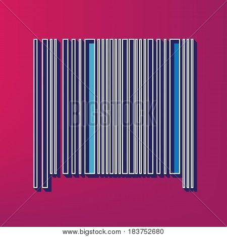 Bar code sign. Vector. Blue 3d printed icon on magenta background.