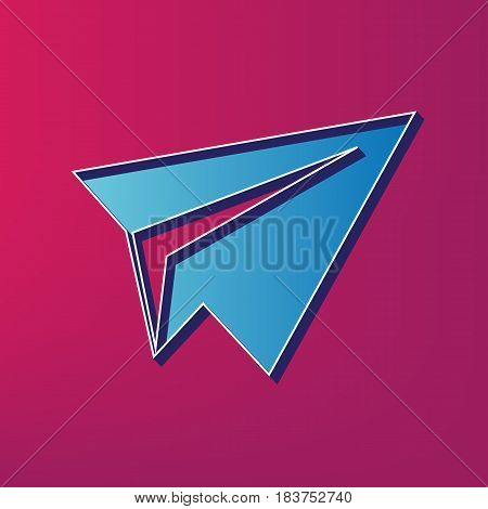 Paper airplane sign. Vector. Blue 3d printed icon on magenta background.
