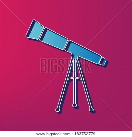 Telescope simple sign. Vector. Blue 3d printed icon on magenta background.