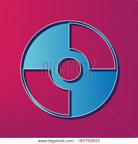 Vector CD or DVD sign. Vector. Blue 3d printed icon on magenta background.