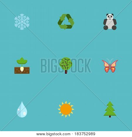 Flat Conservation, Tree, Sunshine And Other Vector Elements. Set Of Nature Flat Symbols Also Includes Blob, Snow, Animal Objects.