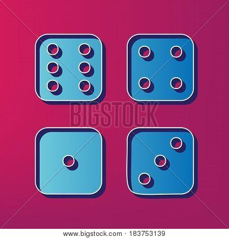 Devils bones, Ivories sign. Vector. Blue 3d printed icon on magenta background.
