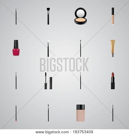Realistic Cosmetic Stick, Eye Paintbrush, Blusher And Other Vector Elements. Set Of Maquillage Realistic Symbols Also Includes Brush, Powder, Lipstick Objects.