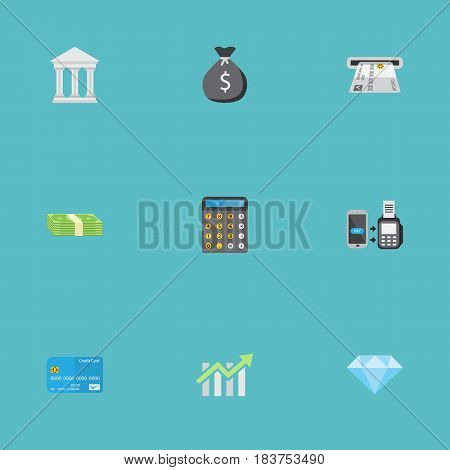 Flat Bank, Payment, Finance Sack And Other Vector Elements. Set Of Business Flat Symbols Also Includes Remote, Card, Bank Objects.