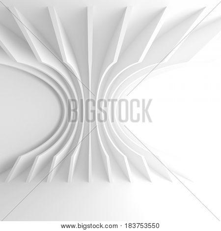 Futuristic White Architecture Background. Creative Interior Design. 3d Illustration