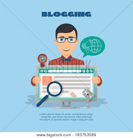 Flat composition with male blogger and computer web camera and microphone. Vector illustration.