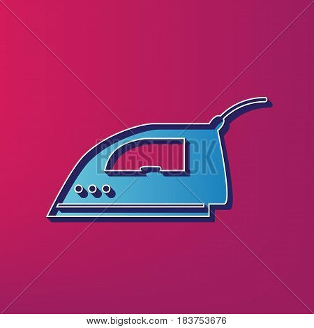 Smoothing Iron sign. Vector. Blue 3d printed icon on magenta background.